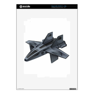 Gray spacship with wings skins for iPad 2