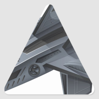 Gray spacship with wings triangle sticker