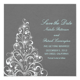 Gray Sparkly Holiday Tree Save the Date Invite