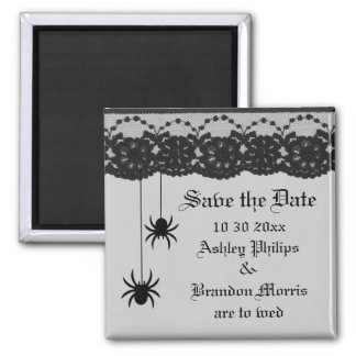 Gray Spiders and Lace Save the Date Magnet