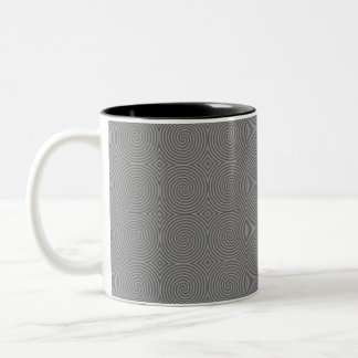 Gray spiral design. Fun modern pattern. Coffee Mugs