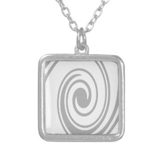 Gray Spiral Pattern Flowing Left to Right Silver Plated Necklace
