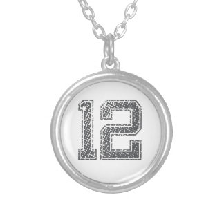 Gray Sports Jersey #12 Silver Plated Necklace
