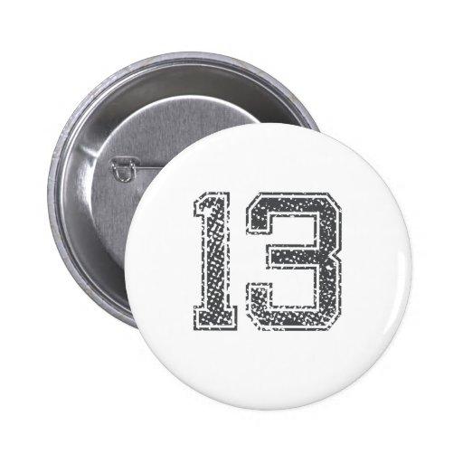 Gray Sports Jersey #13 Pinback Button
