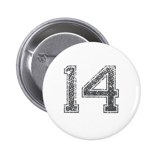 Gray Sports Jersey #14 Pinback Buttons