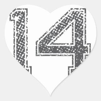 Gray Sports Jersey #14 Heart Sticker