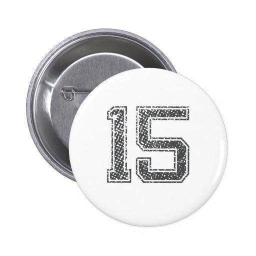 Gray Sports Jersey #15 Pinback Button