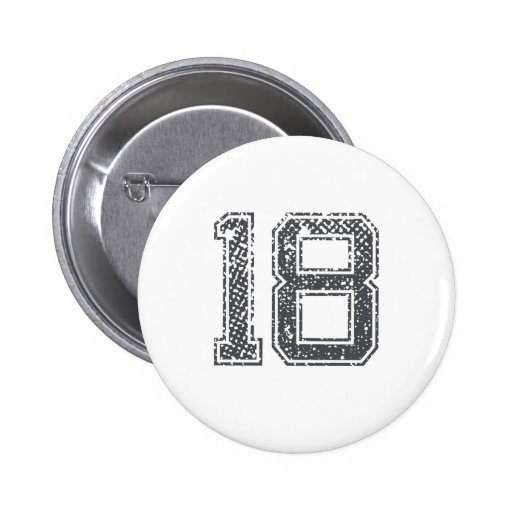 Gray Sports Jersey #18 Pinback Buttons