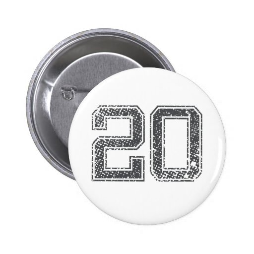 Gray Sports Jersey #20 Pinback Buttons