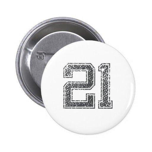 Gray Sports Jersey #21 Pinback Button