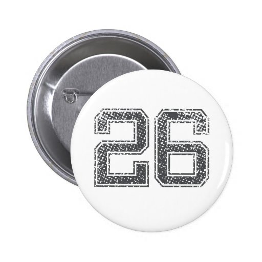Gray Sports Jersey #26 Pinback Buttons