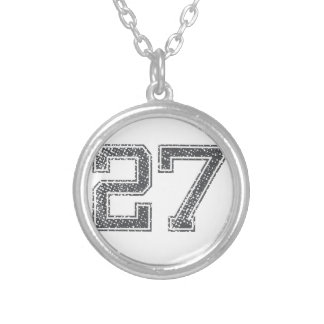 Gray Sports Jersey #27 Silver Plated Necklace