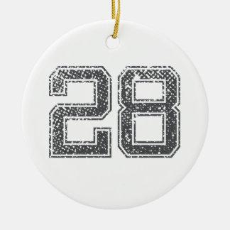 Gray Sports Jersey #28 Ceramic Ornament