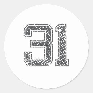 Gray Sports Jersey #31 Classic Round Sticker
