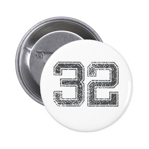 Gray Sports Jersey #32 Pinback Buttons