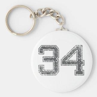 Gray Sports Jersey #34 Keychain