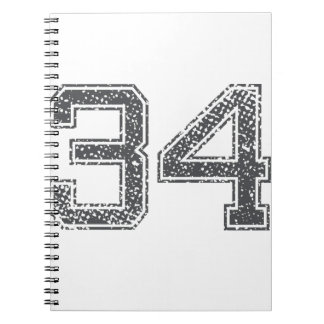 Gray Sports Jersey #34 Note Book