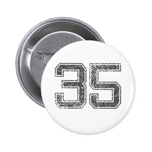 Gray Sports Jersey #35 Pinback Buttons