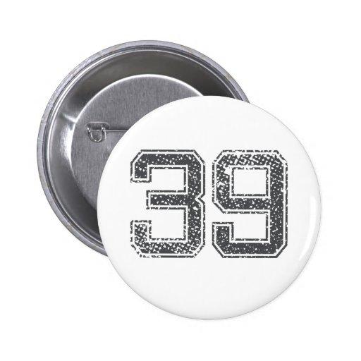 Gray Sports Jersey #39 Pinback Button