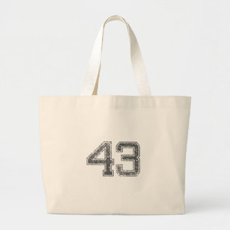 Gray Sports Jersey #43 Large Tote Bag