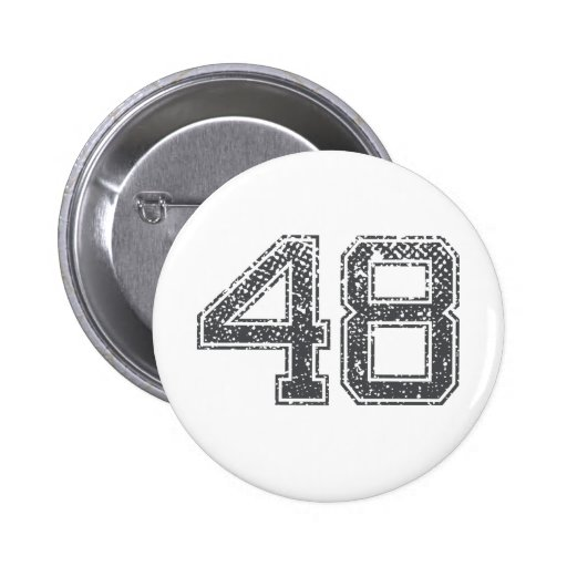 Gray Sports Jersey #48 Pinback Buttons