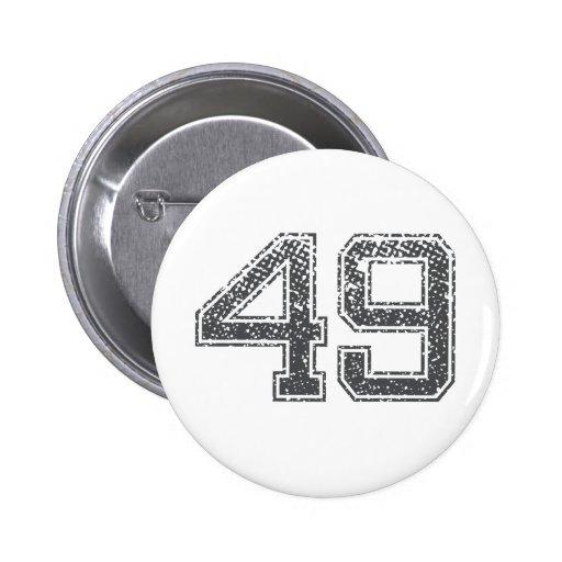 Gray Sports Jersey #49 Pinback Button