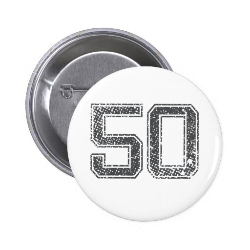 Gray Sports Jersey #50 Pinback Buttons