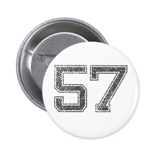 Gray Sports Jersey #57 Pinback Buttons