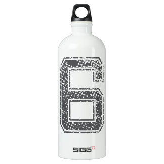 Gray Sports Jersey #6 Aluminum Water Bottle