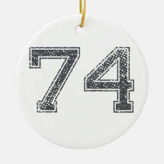 Gray Sports Jersey #74 Ceramic Ornament