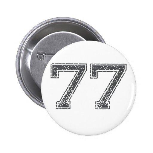 Gray Sports Jersey #77 Pinback Button