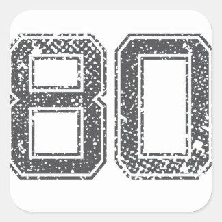 Gray Sports Jersey #80 Square Sticker