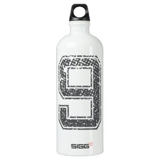Gray Sports Jersey #9 Aluminum Water Bottle