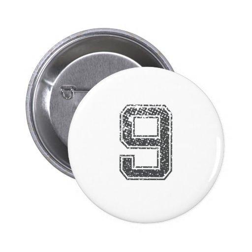 Gray Sports Jersey #9 Pinback Button