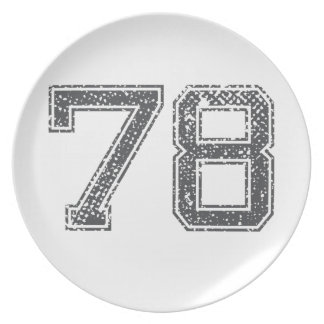 Gray Sports Number 78 Dinner Plate