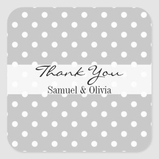 Gray Square Custom Polka Dotted Thank You Label Square Sticker