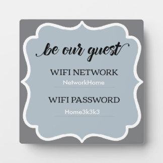 Gray Square Wifi Home Guest Plaque