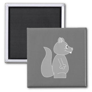 Gray Squirrel 2 Inch Square Magnet