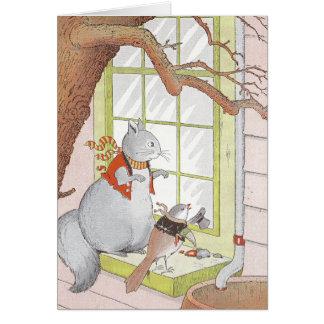 Gray Squirrel & Bird Looking in the Window Card