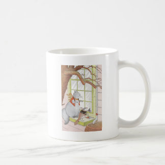 Gray Squirrel & Bird Looking in the Window Coffee Mug