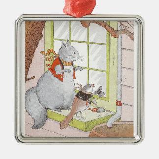 Gray Squirrel & Bird Looking in the Window Metal Ornament