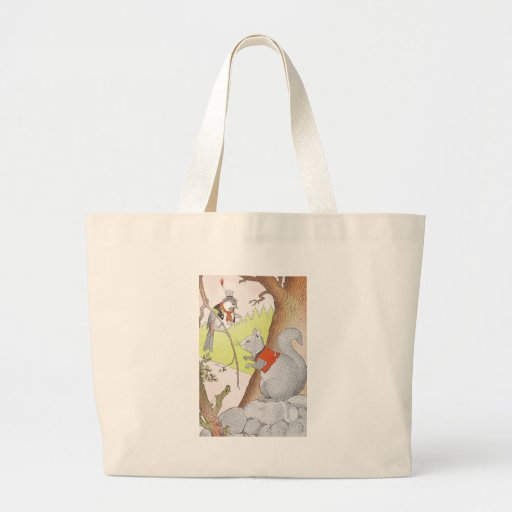 Gray Squirrel & Chickadee Large Tote Bag