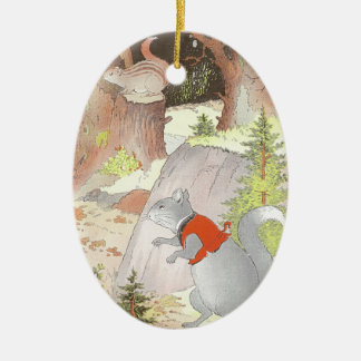 Gray Squirrel & Chipmunk in the Woods Ornament