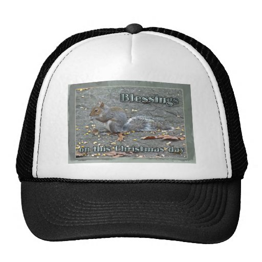 Gray Squirrel Christmas Blessings Series Mesh Hats