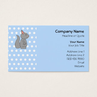 Gray Squirrel on Blue Polka Dot Pattern Business Card