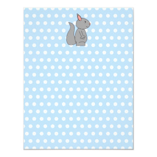 Gray Squirrel on Blue Polka Dot Pattern Card