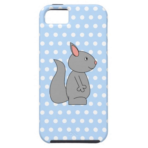 Gray Squirrel on Blue Polka Dot Pattern iPhone 5 Covers