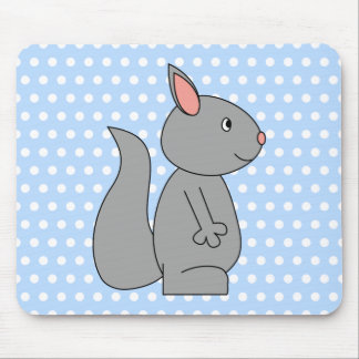 Gray Squirrel on Blue Polka Dot Pattern Mouse Pad