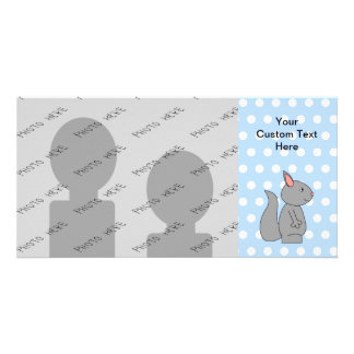 Gray Squirrel on Blue Polka Dot Pattern Photo Greeting Card