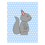 Gray Squirrel on Blue Polka Dot Pattern Post Card